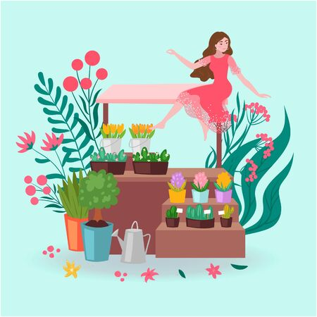 Florist girl with pots of flowers and plants, greenery, bouquets in floral shop, stall store market cartoon vector illustration. Fresh flowers store with daisies, tulips, succulents and watering can.