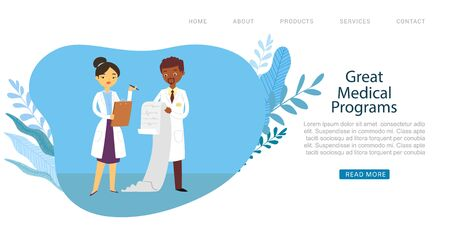 Medical programs in hospital or clinic, doctors male and female medicine workers physicians website cartoon vector illustration. Doctors professional team and medical insurance programs.