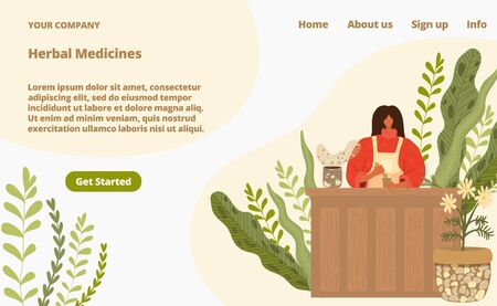 Herbal medicine from natural plants landing page vector illustration. Alternative complementary medicine from herbs, homeopathy therapy. Naturopathic medical ingredients web store. Ilustracja