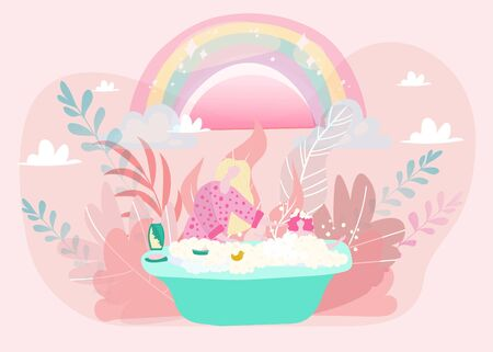 Mom and baby girl bathing, mother bathes and plays with daughter flat vector illustration in magic style, rainbow and fairytale plants. Mothers care for child in bathtube shower, motherhood. Çizim