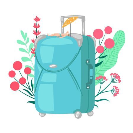 Travel bag luggage vector illustration for trip, vacation baggage, tourism, voyage, journey concept in flat style design. Tourists luggage suitcase for vacation and little man sunbathing on resort.