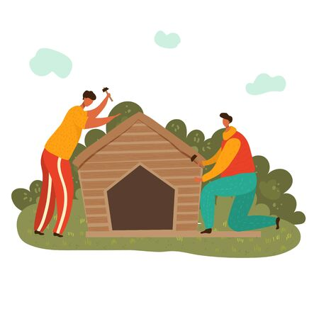 Woodworker man at workplace with hummers building wooden house, flat vector illustration isolated on white. Two men working carpentry with tools, workshop on wooden construction.