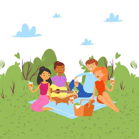 Picnic outdoor in nature or park, weekend with family and friends together party cartoon vector illustration. Friends people woman and men with guitar, food on summer holidays picnic. Ilustracja