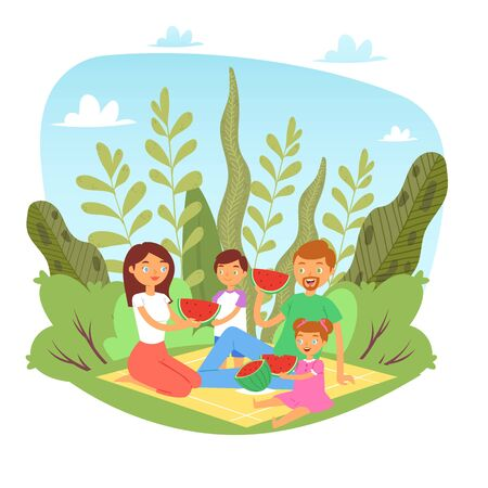 Happy family with kids on picnic with watermelon in nature, weekend with family father, mother and children together eating fruits cartoon vector illustration. Family with food on summer picnic.