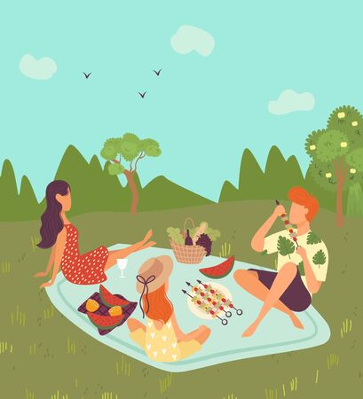 Happy family on picnic outdoor in nature or park landscape, weekend for father, mother and daughter together eating fruits cartoon vector illustration. Family with food on summer holidays picnic.