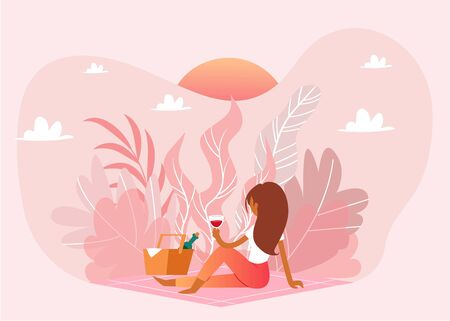 Picnic outdoor in nature, pink landscape, romantic weekend girl with basket and wine cartoon vector illustration. Romance, lone woman on picnic waiting for love, pink romantic sunset.