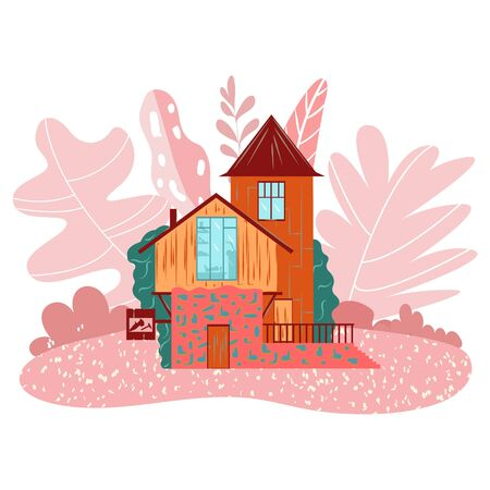 Cozy little fairy house on pink landscape, cottage with tower for girls, isolated on white cartoon vector illustration. Fairytale house facade in magic forest for childrens books or stickers. Vectores