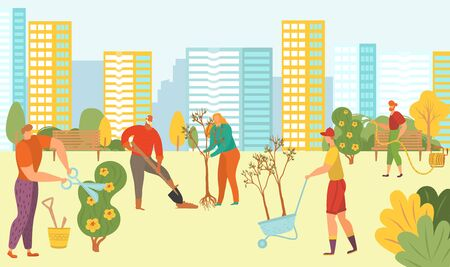 People planting trees in city park, nature, green ecolodgical volunteers with new plants on cityscape background flat vector illustration. Plantations of greenery in city park volunteering social work.