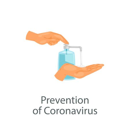 Coronavirus prevention and protection, alcohol antiseptic gel to clean hands and prevent germs, medical disinfection isolated on white vector illustration. Virus antibacterial sanitary gel, sanitizer. Ilustracja