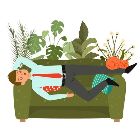 Businessman sleeps on couch, tired man taking nap on sofa at home, laying, relaxing, recharge or resting isolated on white flat vector illustraton. Lazy office guy sleeping during work break.