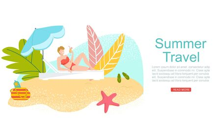 Summer travel, vacation to tropical sea islands, woman in bikini with coctail on beach web banner cartoon flat vector illustration. Sea resort travelling. Beach rest traveller girl, seascape.