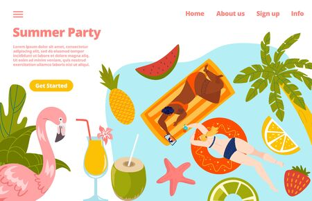 Summer pool party with people in swimming pool holiday, palms and parasol umbrella, beach, flamingo and coctals website template vector illustration.