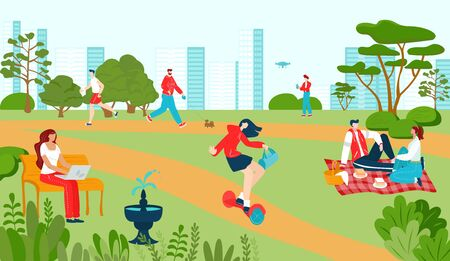 City park with people recreations in summer, walkway playground and attractions fountain and benches cityscape flat vector illustration. Lifestyle in park outdoor, sport and leisure, urban activity. Ilustracja