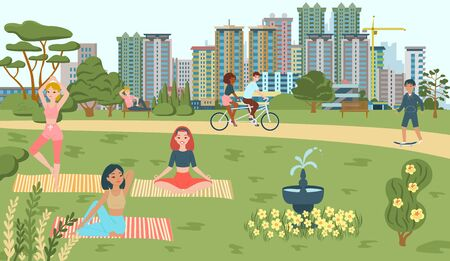 People do sport in park, yoga, bicycling, scating recreations in summer, walkway playground and attractions fountain cityscape flat vector illustration. Lifestyle in park outdoor, sport and leisure.