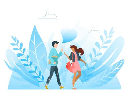 Happy best friends having good time together, going out and talking, friendship flat vector llustration isolated on white. Friendly students young man and woman, friendship concept.