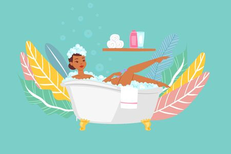 Woman bathing in bathtub, dark skinned asiatic girl in bathroom cartoon vector Illustration. Body relaxation and hygiene in bath, beauty spa at home, relax washing in foam bubbles.