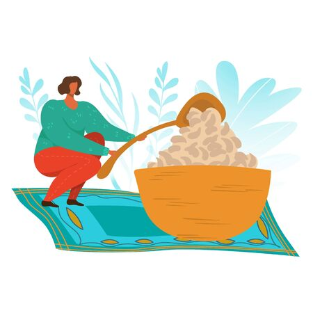 Woman eating, food addiction flat vector illustration, unhealthy lifestyle, harmful nutrition, obesity problem concept. Overweight woman eating food with big spoon cartoon character. Illustration
