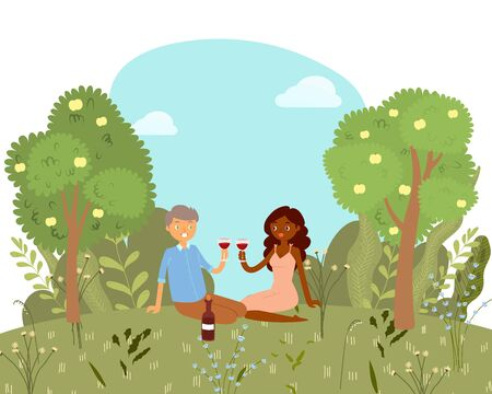 Love picnic for happy couple with wine in park, nature outdoor, romantic date cartoon vector illustration. Valentines day card. Lovely couple man and woman together among trees on summer picnic.