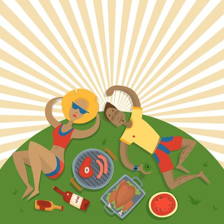 Summer picnic family in park on the meadow with happy couple husband and wife cartoon vector illustration. Caucasian man and woman, wine and bbq top view, sun background.