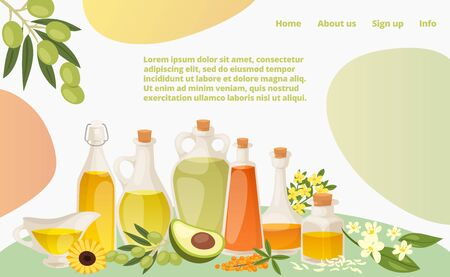 Various healthy oil landing web page, concept banner website template cartoon vector illustration. Website page banner, modern avocado, sunflower and olive fat. Home info and about us button. Ilustrace