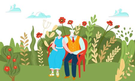Elderly character couple resting outdoor park, aged male female pair relax natural place cartoon vector illustration. Old lovely person sit street garden bench, concept flower field area.