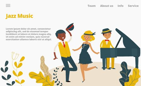 Jazz music studio landing web page, concept banner website template cartoon vector illustration. Company website page, female male character dance and play piano, person cheerful spend time.