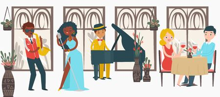 Lovely couple male female date jazz restaurant, character lover pair listening music isolated on white, flat vector illustration. Black people play jazz, woman sing, man trumpet and piano perform. Stock Illustratie