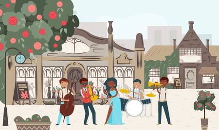 Group jazz perform music performance urban place, cozy city street play flat vector illustration. People male female character act musical instrument, free outdoor execution, design web banner.