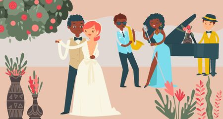 International couple wedding celebration, character male female marry flat vector illustration. Music group jazz performance, wed festivity. Lovely pair dance, lover man woman happy day. Stock Illustratie