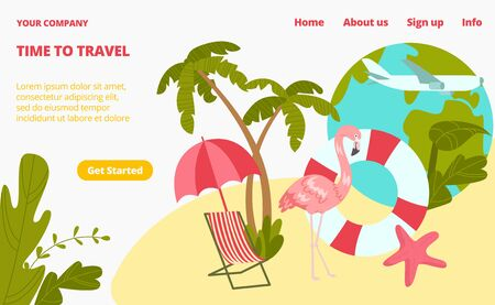 Pink flamingo stay beach chair and palm tree landing web page, concept banner website template cartoon vector illustration. Trip website page, get started button. Travel around earth world. Ilustrace