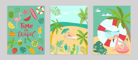 Templates summer travel set poster concept banner, pattern tropical hot relax flat vector illustration. Ocean rest seaside heavenly place, vacation hot country beach recreational activity.