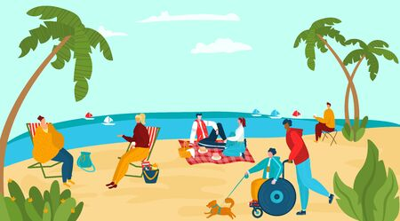 Character people relax sea shore, male female disabled walking dog, group human rest ocean beach flat vector illustration. Woman sitting deck chair and family picnic tropical hot place with palm tree. Illustration