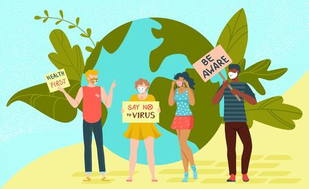 Rally protest people, say no virus and health first banner flat vector illustration. Character male female stand earth planet, eco friendly people activist. Viral world danger be aware.