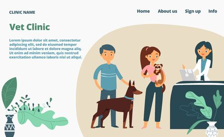 Veterinary clinic landing web page, concept banner website template cartoon vector illustration. Medical vet company website page, character person animal owner male female, medical pets nurse. Ilustrace
