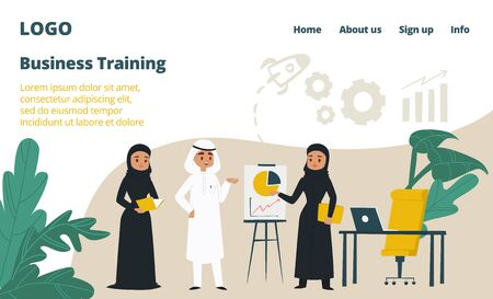 Arab business training landing web page, concept banner website template cartoon vector illustration. Company website page, arabic country corporation. Character male female discuss work plan. Ilustrace