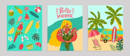 Set poster hello summer concept banner, pattern tropical hot relax flat vector illustration. Surf flyer advertising, ocean rest seaside. Templates ads billboard, palm tree woman hold bouquet flower.