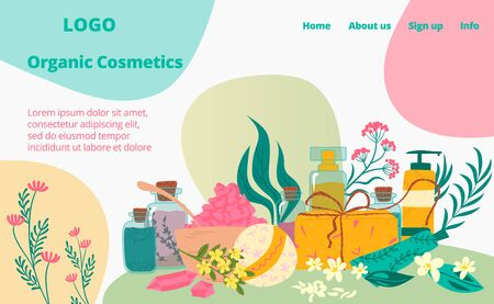 Organic natural cosmetic, skin and face care landing web page, concept banner website template cartoon vector illustration. Website business page banner, tube perfume girl beauty product.