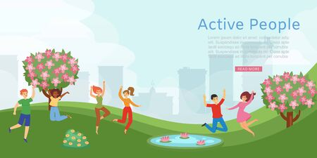 Active people in park, banner showing dynamic people lifestyle, outdoor recreation, design, cartoon style vector illustration. Joyful guys, girls having fun in countryside outside city, green grass.