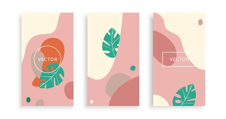 Set banners organic shapes, bookmark background, bright graphic template, modern abstract poster, cartoon vector illustration. Concept fashion layout liquid elements on flyer, minimal dynamic style.