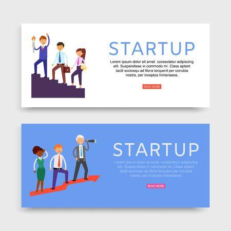 Startup banner inscription, set web sites, business promotion concept, company growth technology, flat style vector illustration. Teamwork, creative businessmen, men, women, hr and data processing,