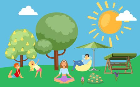 Family in summer loves to relax in nature, father, mother with children in park outdoors, design, cartoon vector illustration. Happy people together on vacation, camping, boy doing fitness with girl.