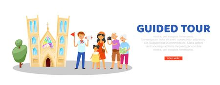 tour guide, advertising banner, tourist website, travel information portal, journey vacation, cartoon style vector illustration. Men, women sightseeing tours, people explore sights, poster travelers.