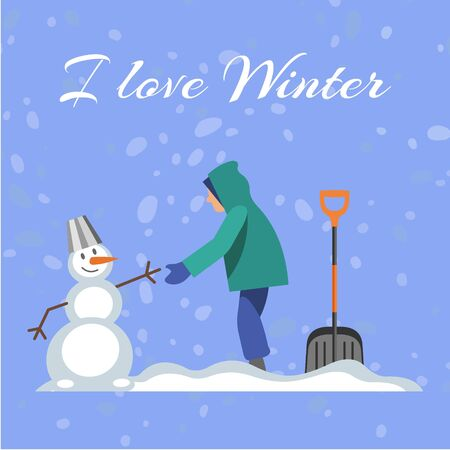 Lettering I love winter, blue background, cold, snowy season, white snowball, funny snowman, cartoon style vector illustration. Boy spends time outdoor, healthy game street, snowflakes fall from sky