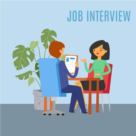 Job interview inscription, bright background, reference Information business, company employee, design, flat vector illustration. People in office at workplace, HR management, woman watching resume.  イラスト・ベクター素材