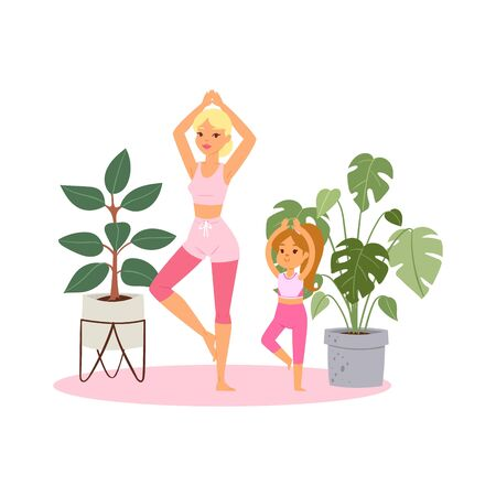 Illustration, girl practices yoga at home, relaxing pose for meditation, healthy lifestyle, cartoon style vector illustration. Mom, daughter, bodybuilding fitness training, relaxation for wellness.