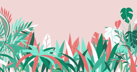 Grass, background, various summer tropical plants, banner red, turquoise, spring foliage, cartoon style vector illustration. Herbal garden, exotic leaves, natural environment, colorful flyer design Ilustrace