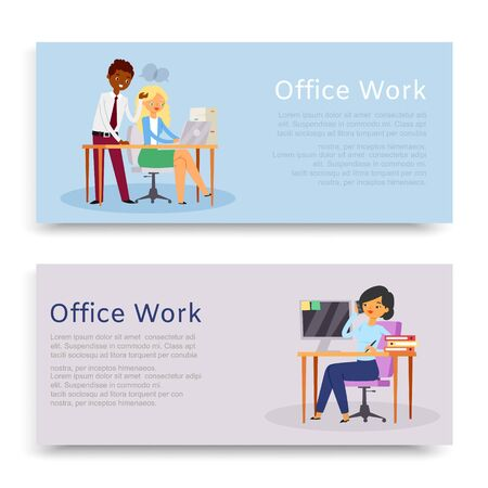 inscription office work, set banners, convenient workplace, website reference information, cartoon style vector illustration. Business management, woman supervisor, working table, discussing documents