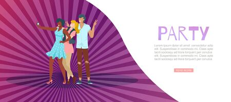 Trendy party banner, festive poster, colorful, radiant purple background, joyful event, design, cartoon style vector illustration. People have fun on holiday, young woman and guy take selfies.