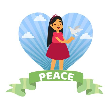 World inscription on ribbon, girl on background hearts, cute poster, reference information, cartoon style vector illustration. Joyful girl holding dove in her hands, bird with green leaf in beak.  イラスト・ベクター素材