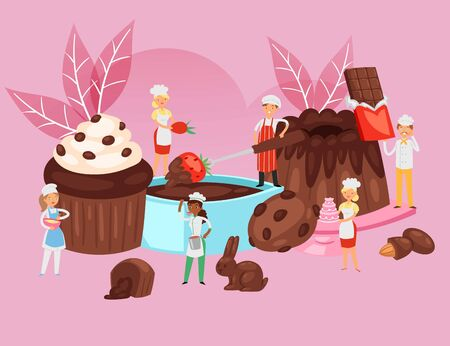 People cook chocolate, food recipe composition, professional bakery banner, desserts baking, cartoon style vector illustration. Happy men, women make pastries, poster for sweets with small people.